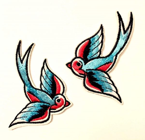 gaixample.org 1 pair Swallow Birds Embroidered Iron On/Sew On ...